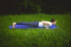Mujer joven del ajuste deportivo hermoso en ropa de deportes que se resuelve al aire libre el día de verano, haciendo pectorales, Fotos de archivo libres de regalías