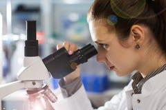 Mujer joven del científico que usa un microscopio en una ciencia Imagen de archivo libre de regalías