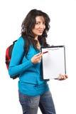 Mujer joven del estudiante con el morral Fotos de archivo