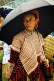 mujer joven del miembro de la tribu del hmong de la flor en el mercado local del granjero alto para arriba en las montañas con un imágenes de archivo libres de regalías