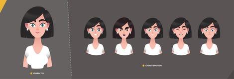 Mujer joven del personaje de dibujos animados en el estilo del negocio para el diseño de la animación y del movimiento ilustración del vector