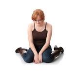 Mujer joven del redhead con la depresión Fotografía de archivo libre de regalías