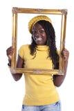 Mujer joven dentro de un marco Foto de archivo libre de regalías