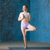 Mujer joven deportiva hermosa que hace actitud del árbol Fotografía de archivo libre de regalías