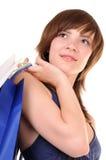Mujer joven después de hacer compras Fotos de archivo
