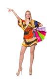 Mujer joven después de hacer compras Fotografía de archivo libre de regalías