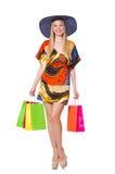 Mujer joven después de hacer compras Imagen de archivo