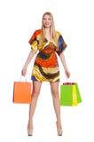 Mujer joven después de hacer compras Imágenes de archivo libres de regalías