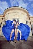 Mujer joven dos en azul Imagen de archivo