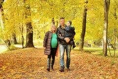 Mujer joven embarazada que camina en parque del otoño con su marido y niño Foto de archivo