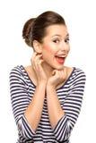Mujer joven emocionada Imágenes de archivo libres de regalías