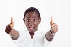 Mujer joven emocionada Fotografía de archivo