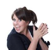 Mujer joven emocionada y feliz; aislado Fotos de archivo libres de regalías