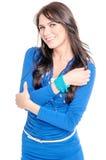 Mujer joven en alineada azul Fotos de archivo libres de regalías