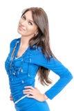 Mujer joven en alineada azul Imagen de archivo libre de regalías