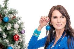 Mujer joven en alineada azul Fotos de archivo