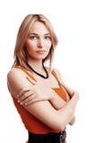 mujer joven en alineada roja. Fotos de archivo