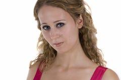 Mujer joven en alineada rosácea Fotos de archivo libres de regalías
