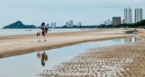 Mujer joven en caballo de montar a caballo de la playa imágenes de archivo libres de regalías