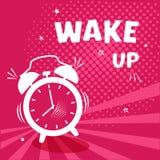 Mujer joven en cama en la mañana Despertador cómico en fondo del pinr con el tono medio y estrellas en estilo del arte pop Ilustr ilustración del vector