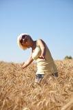 Mujer joven en campo de trigo Fotografía de archivo