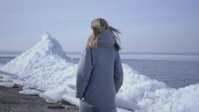 Mujer joven en chaqueta caliente que camina en el glaciar Naturaleza que sorprende de un norte o de South Pole nevoso El polar fe almacen de metraje de vídeo