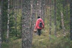 mujer joven en chaqueta roja que disfruta de la naturaleza en el bosque Letonia - VI Fotos de archivo libres de regalías