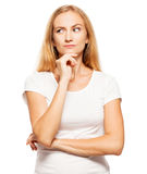 Mujer joven en el fondo blanco Imagen de archivo