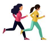 Mujer joven en el funcionamiento de la ropa de los deportes Dos muchachas corren una carrera, se alcanzan ilustración del vector