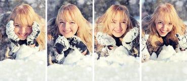 Mujer joven en el paisaje nevoso del invierno Fotografía de archivo