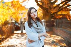 Mujer joven en el parque hermoso del otoño, otoño del concepto Fotos de archivo