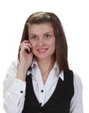 Mujer joven en el teléfono Fotografía de archivo