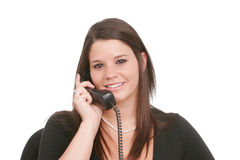 Mujer joven en el teléfono Fotos de archivo libres de regalías
