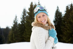 Mujer joven en escena alpestre de la nieve imagen de archivo libre de regalías