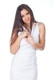 Mujer joven en expresiones positivas Imagen de archivo libre de regalías