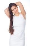 Mujer joven en expresiones positivas Imagenes de archivo