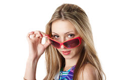 Mujer joven en gafas de sol Foto de archivo libre de regalías