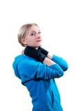 Mujer joven en guantes de boxeo Fotografía de archivo