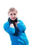 Mujer joven en guantes de boxeo Imagen de archivo libre de regalías