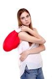 Mujer joven en guantes de boxeo - imagen común Foto de archivo