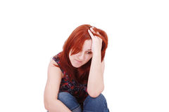 Mujer joven en la depresión Imágenes de archivo libres de regalías