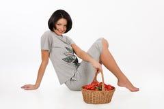 Mujer joven en la ropa casera Imagen de archivo libre de regalías