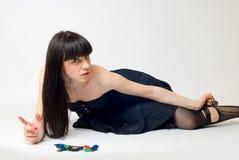 Mujer joven en medias rasgadas Imágenes de archivo libres de regalías