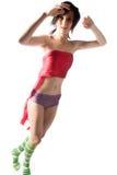 Mujer joven en pantalones rosados Foto de archivo libre de regalías