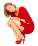 Mujer joven en rojo Imagen de archivo libre de regalías