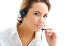 Mujer joven en servicio de atención al cliente Imágenes de archivo libres de regalías
