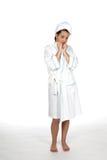 Mujer joven en toalla y traje Imágenes de archivo libres de regalías