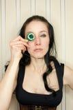 Mujer joven en traje del steampunk Fotografía de archivo libre de regalías