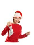 Mujer joven en un casquillo de Santa Fotos de archivo