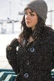 Mujer joven en un día de invierno nevoso Fotos de archivo libres de regalías